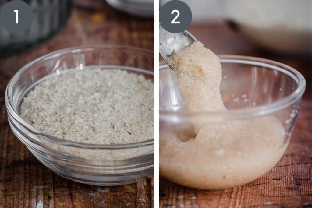 two images showing psyllium husk