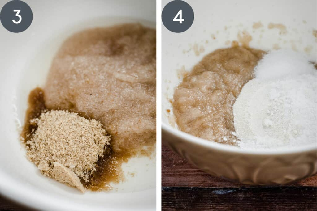 ingredients for making gluten free sourdough bread in a mixing bowl