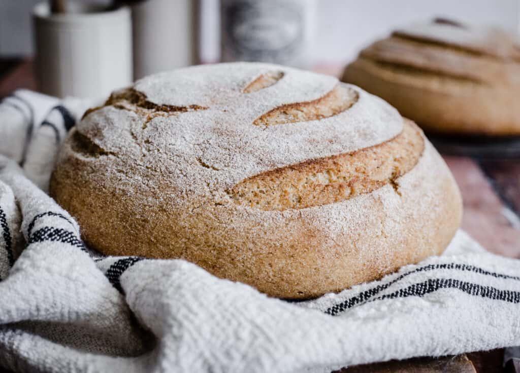 sourdough bread on a wooden board