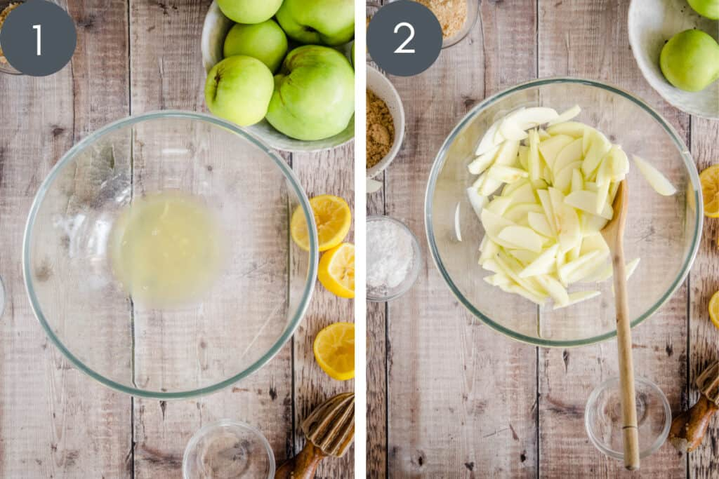 Two images showing apple pie ingredients being mixed in a bowl