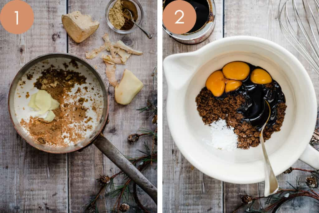 two images showing gingerbread ice cream ingredients in a pan and in a bowl