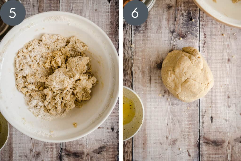 Two images showing pastry ingredients being mixed in a bowl and then tipped out onto the work surface