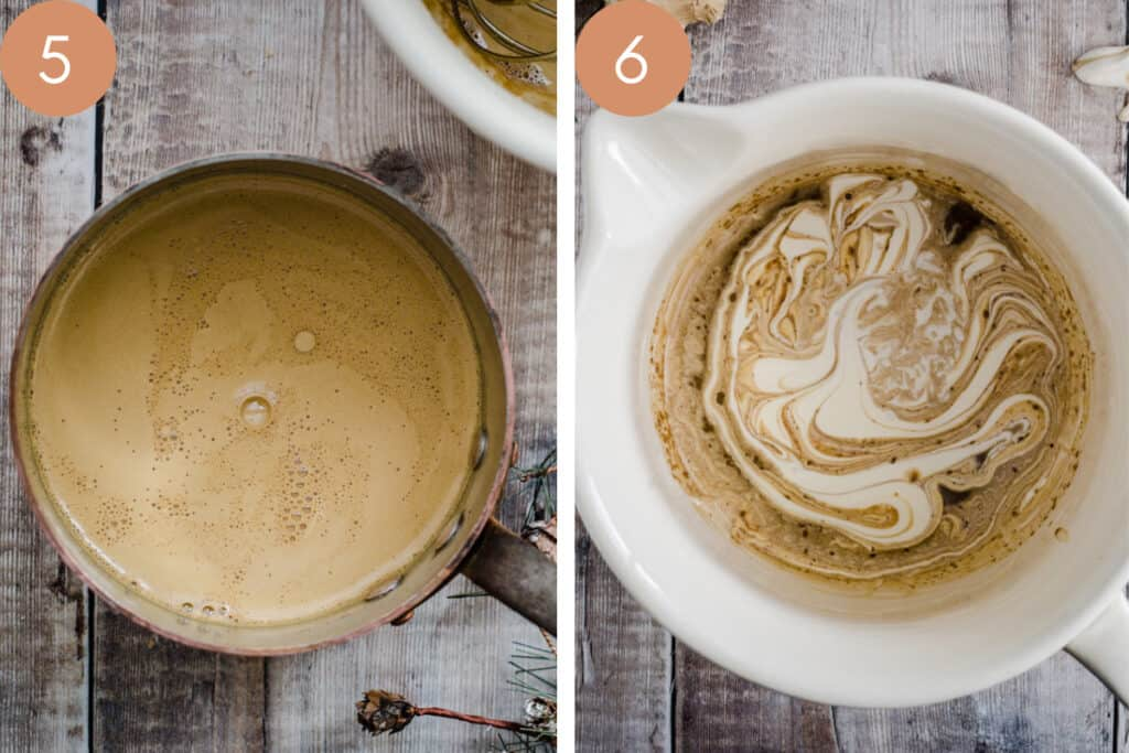 two images showing custard in a saucepan and then in a bowl with cream added