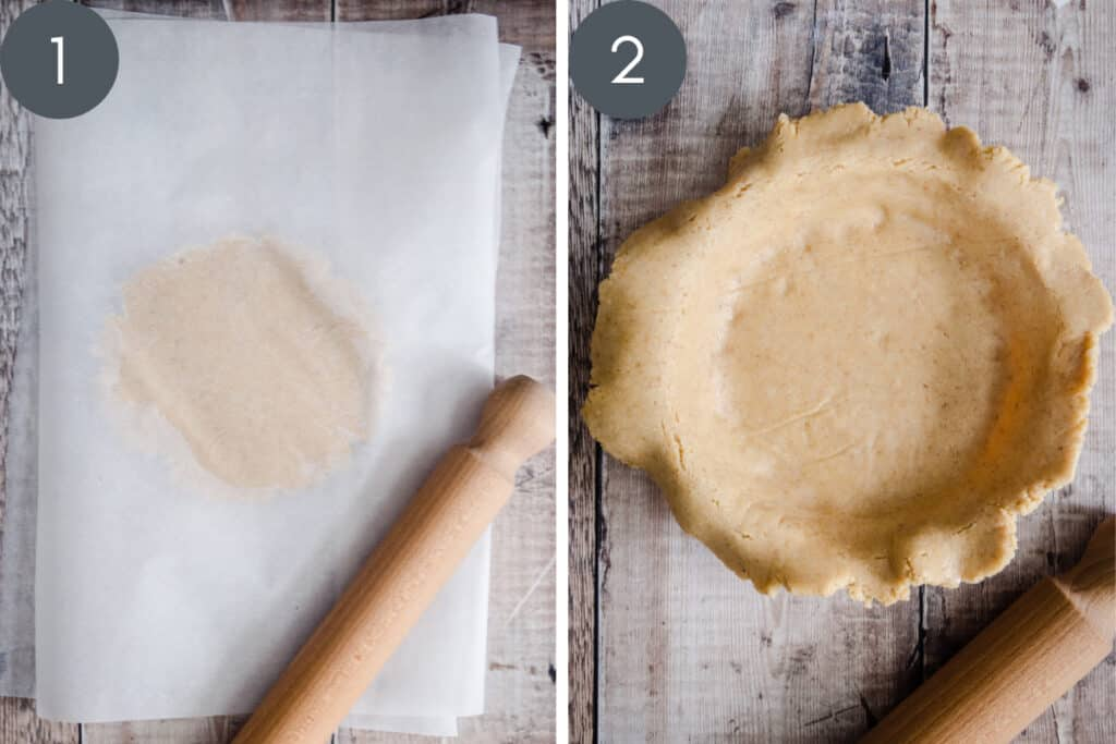 Two images showing pie being rolled out and fitted into dish