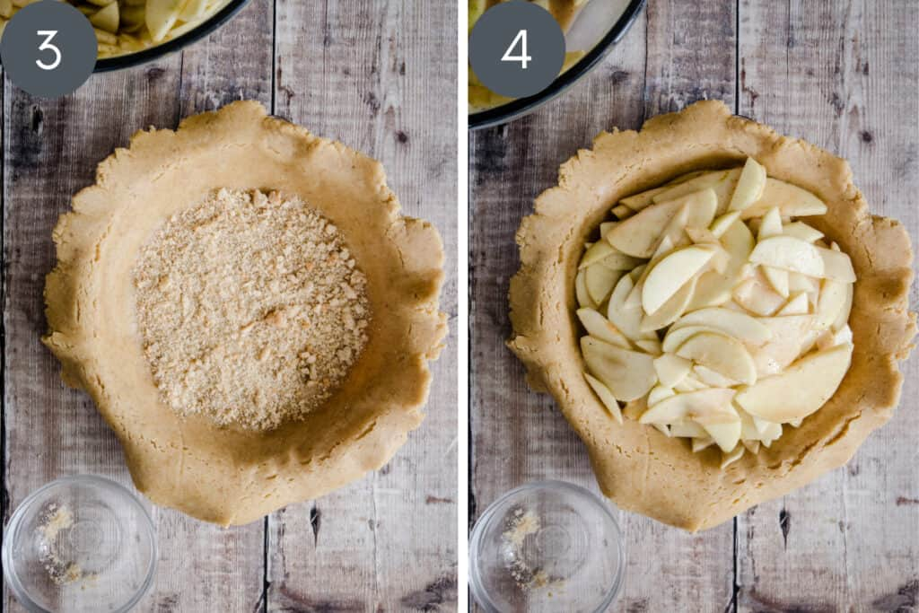Two images of apples being filled into an apple pie
