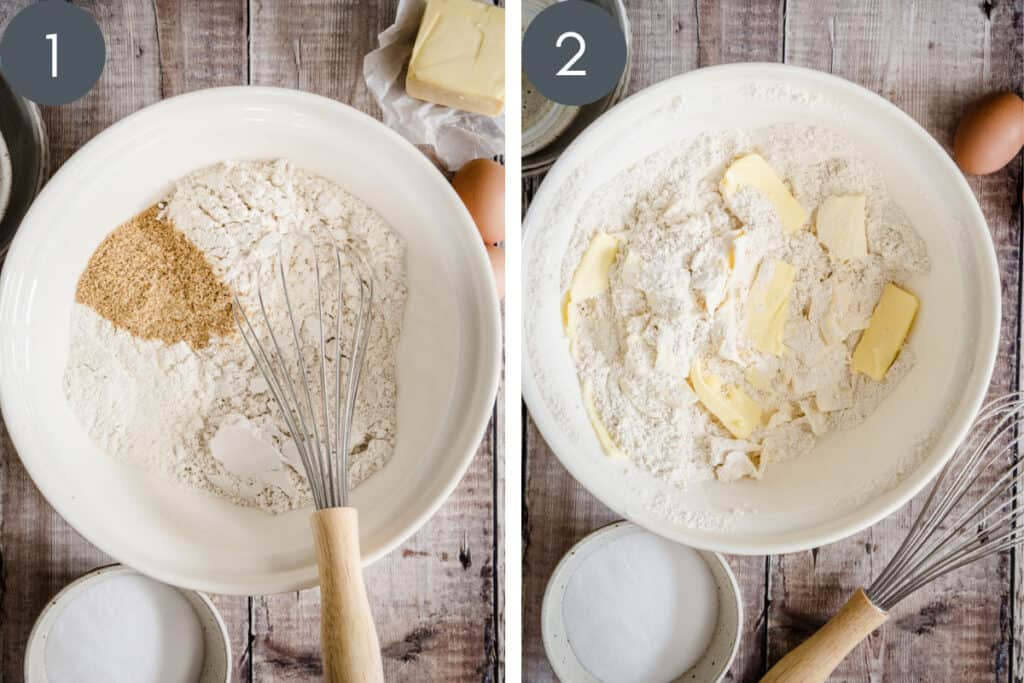 Two images showing pastry ingredients being mixed in a bowl