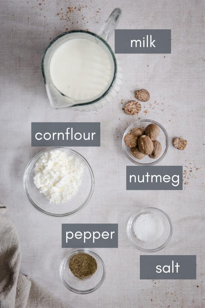 ingredients for white sauce