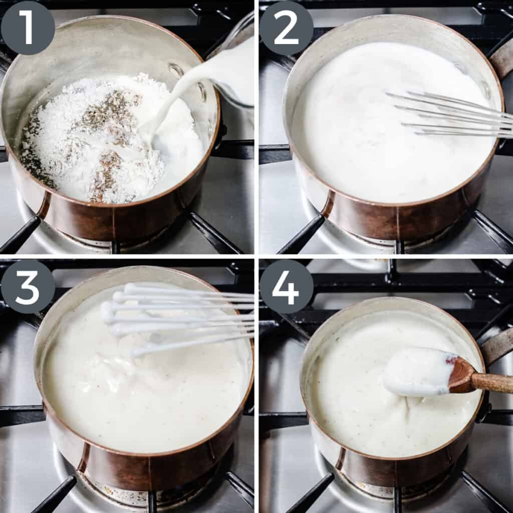 images showing white sauce being made in a saucepan