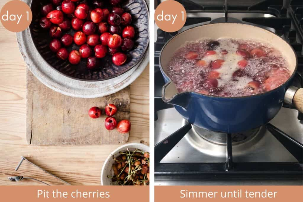 images showing cherries being pitted and cherries boiling in pan