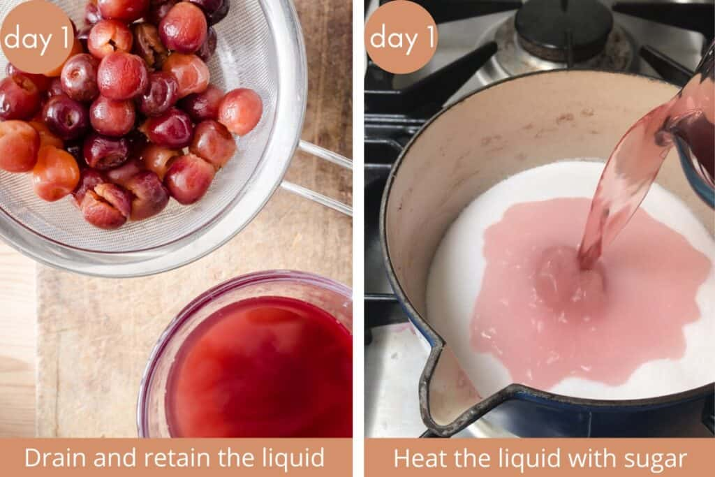 two images showing cherries being drained and then syrup being made in a saucepan