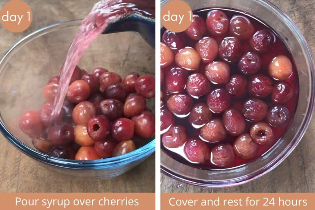 Two images showing drained cherries with syrup being poured over and soaking in a bowl