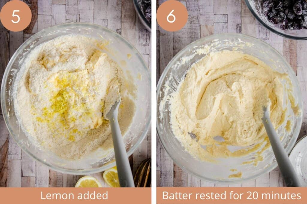 two images of cake batter mixed in a bowl